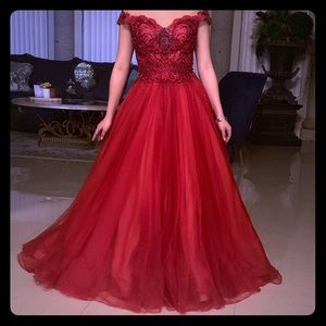 Terani Couture Red Prom Dress
